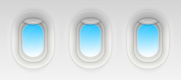 Lutar a janela do avião, vigias de avião em branco.