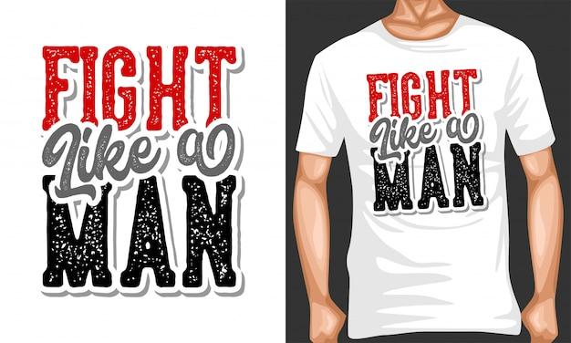 Lutar como um homem que rotula tipografia