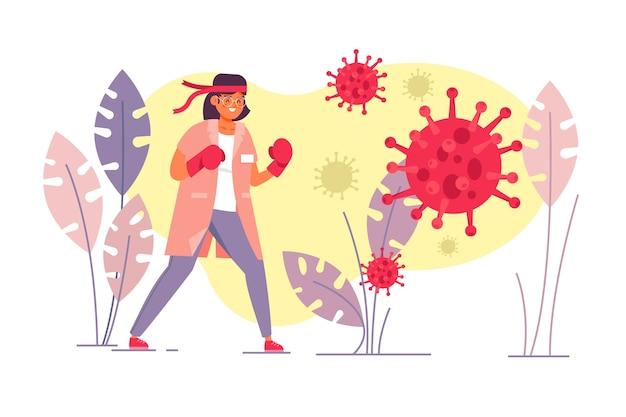 Lutar contra o conceito de ilustração de vírus