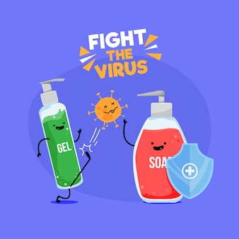 Lutar contra o conceito de vírus Vetor Premium