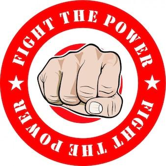 Lutar contra o poder e punho dentro de um círculo