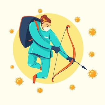 Lutar contra o vírus arqueiro médico