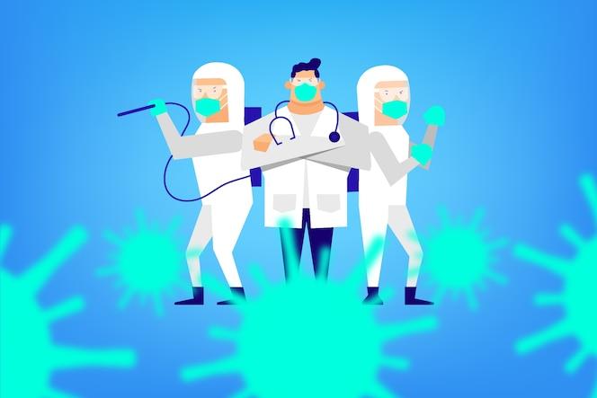 Lute contra o conceito de vírus com traje de proteção