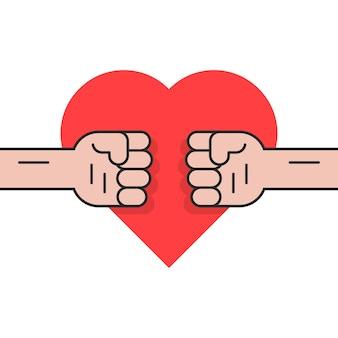 Lute pelo amor com dois punhos. conceito de revolução, rebelião, protesto, crime, ciúme, inveja, dia dos namorados, briga de família. isolado no fundo branco. ilustração em vetor design de tendências de estilo simples