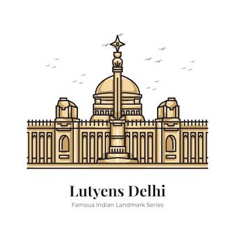 Lutyens delhi indian landmark ilustração icônica dos desenhos animados