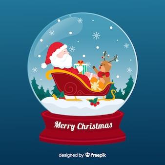 Luva de bola de neve de natal com papai noel