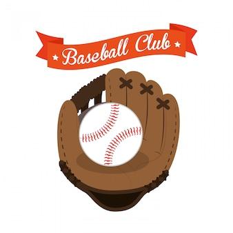 Luva de clube de beisebol e ilustração de bola