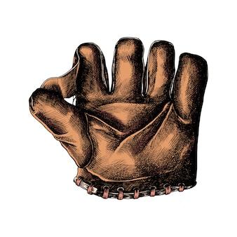 Luva de couro de esporte desenhada mão