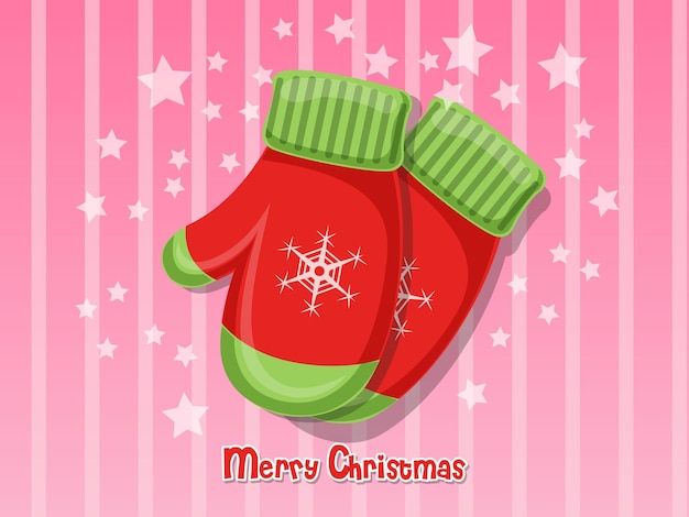 Luva de feliz natal isolada no fundo. feliz ano novo e elemento de decoração. ilustração vetorial.