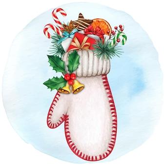 Luva desenhada à mão em aquarela cheia de presentes e guloseimas