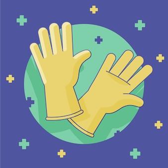 Luvas amarelas de látex para proteção pessoal