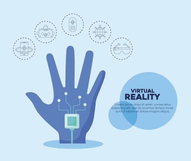 Luvas com fio e ícones relacionados com a realidade virtual