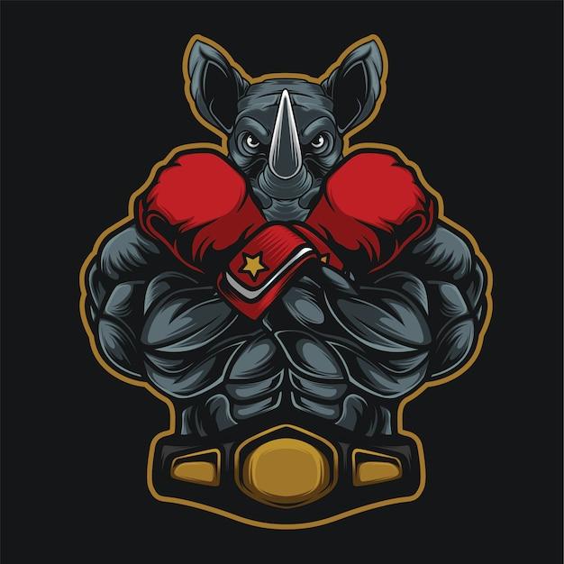 Luvas de boxe campeão rinoceronte