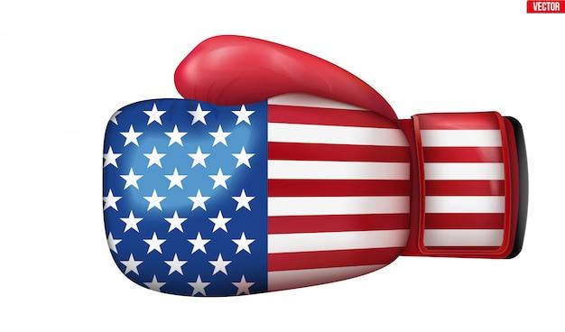Luvas de boxe com bandeira dos eua