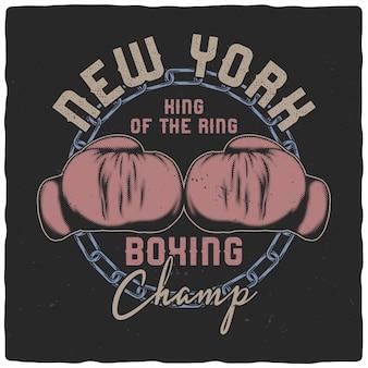 Luvas de boxe em estilo vintage