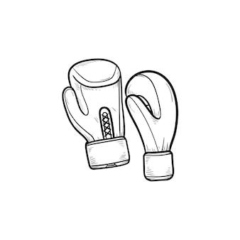 Luvas de boxe ícone de doodle de contorno desenhado de mão. equipamento de boxe, roupas esportivas, conceito de proteção de luta