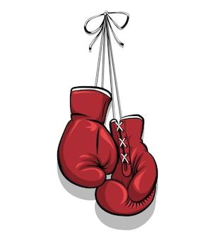 Luvas de boxe penduradas. equipamento para competição, proteção de mão. ilustração vetorial