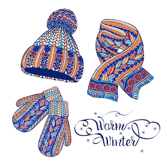 Luvas de chapéu quente cachecol doodle