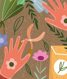 Luvas de jardinagem tesoura sementes flores e folhas fundo ilustração colorida desenhada à mão