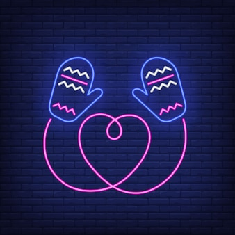 Luvas de malha com cordão em forma de coração no estilo neon