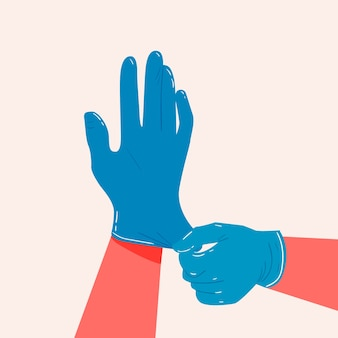 Luvas de mão para o conceito de proteção