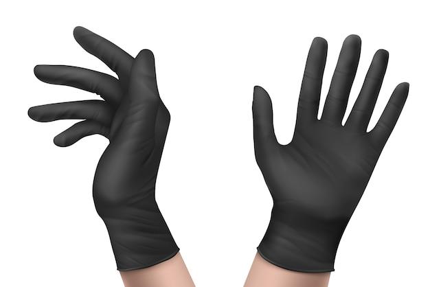 Luvas de nitrilo em vista frontal e lateral. equipamento de proteção individual de látex descartável de borracha preta para trabalhadores de saúde ou de laboratório isolados no fundo branco, ilustração 3d realista