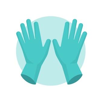Luvas de proteção azuis ilustradas