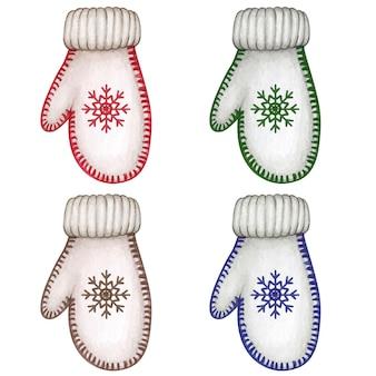 Luvas decorativas em aquarela e luvas de natal desenhadas à mão