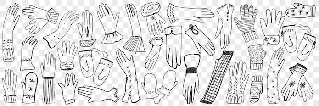 Luvas e luvas doodle conjunto.