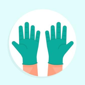 Luvas médicas de látex azul para proteção