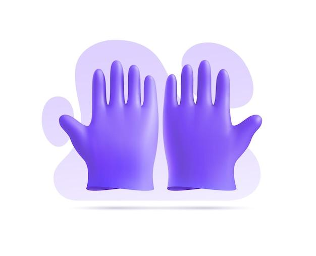 Luvas médicas de nitrilo violeta 3d com fundo de formas abstratas