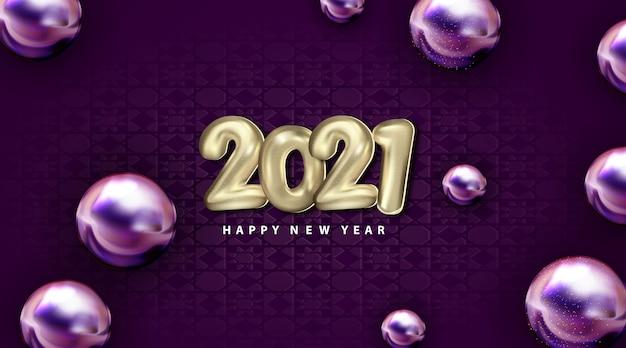 Luxo 2021 feliz ano novo com número balão 3d prata