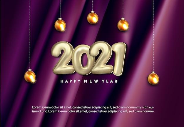Luxo 2021 feliz ano novo ilustração 3d realista