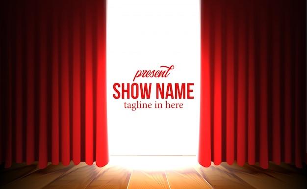 Luxo abrindo o pano de fundo vermelho cortina com show de holofotes