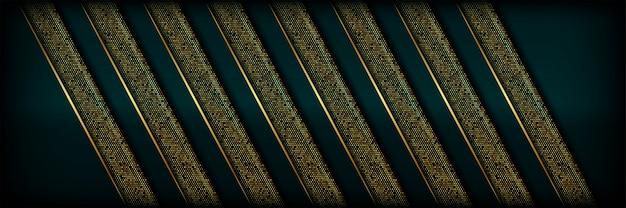 Luxo abstrato geométrico verde com fundo de linhas douradas