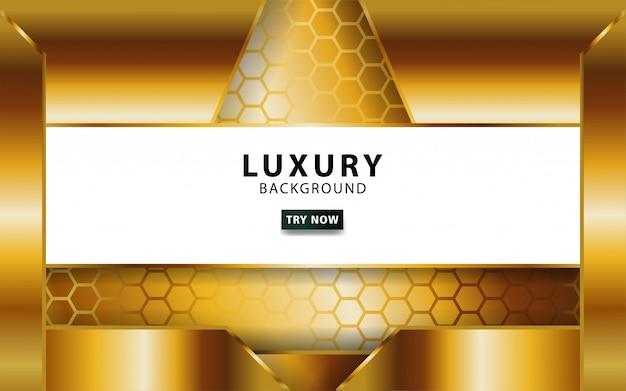Luxo abstrato ouro de fundo vector com linha dourada. sobreposição de camadas com efeito de papel. modelo digital. efeito de luz realista no plano de fundo texturizado hexágono.
