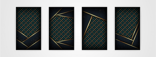 Luxo abstrato padrão poligonal escuro com fundo dourado Vetor Premium