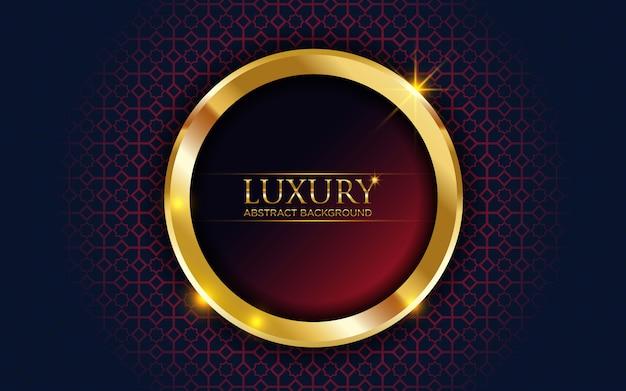 Luxo abstrato vermelho escuro com círculo dourado