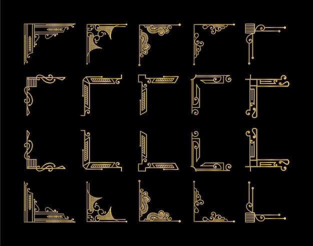 Luxo atique elementos art déco grande coleção bordas douradas emolduram cantos, divisórias e cabeçalho