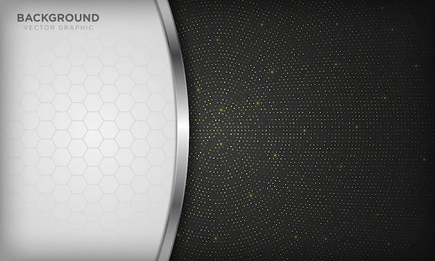 Luxo branco e preto se sobrepõem fundo com linha prata realista e hexágono no meio-tom radial dourado brilhante.