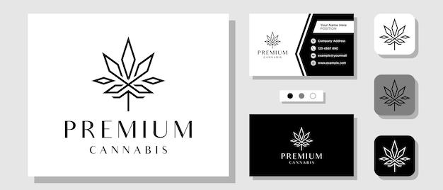 Luxo cannabis hemp drug weed king royal premium logo design com layout modelo de cartão de visita