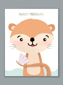 Luxo cartoon animal design de cartão de ilustração para celebração de aniversário, boas-vindas, convite para evento ou saudação. lontra com marisco.