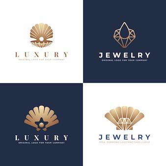 Luxo, coleção de logotipo de jóias modernas.