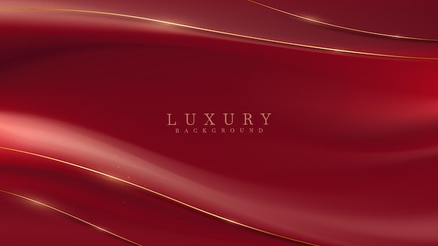 Luxo de linhas curvas douradas sobre fundo de tecido vermelho, design da capa para texto ou produto de lugar, ilustração vetorial.