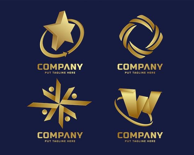 Luxo de negócios ouro e elegante modelo de logotipo com forma abstrata