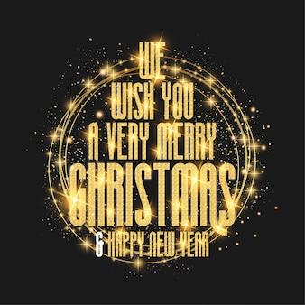 Luxo desejamos a você um cartão de feliz natal com moldura dourada de design de textura