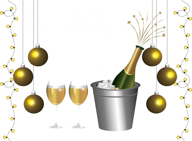 Luxo e elegante novo ano eve decoração dos desenhos animados