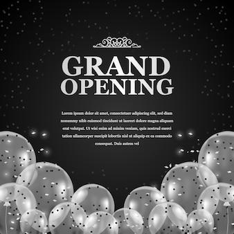 Luxo e elegante prata 3d voando em balões transparentes com confete e fundo preto para inauguração
