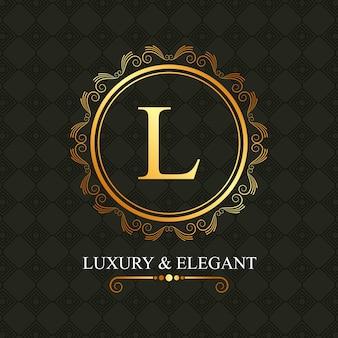 Luxo e elegante quadro dourado l