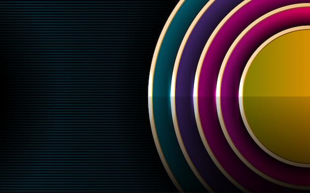 Luxo e fundo colorido escuro com círculos